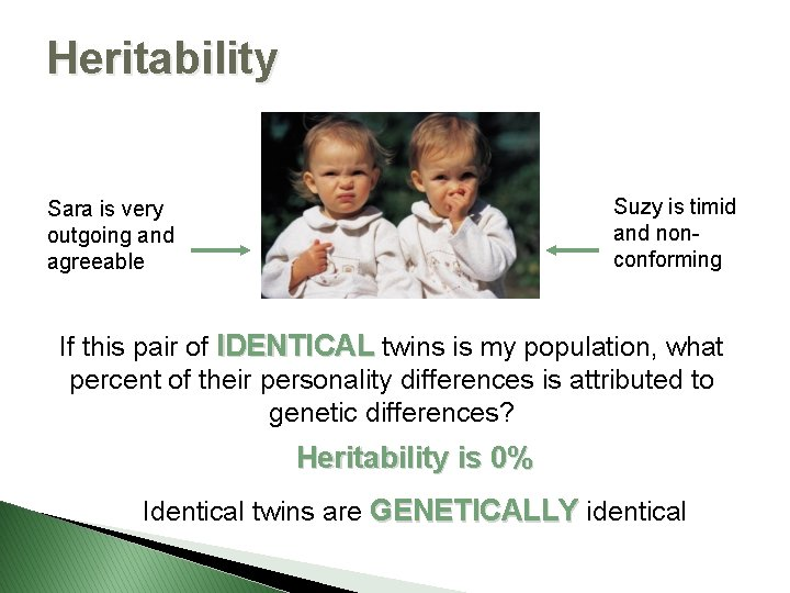 Heritability Suzy is timid and nonconforming Sara is very outgoing and agreeable If this