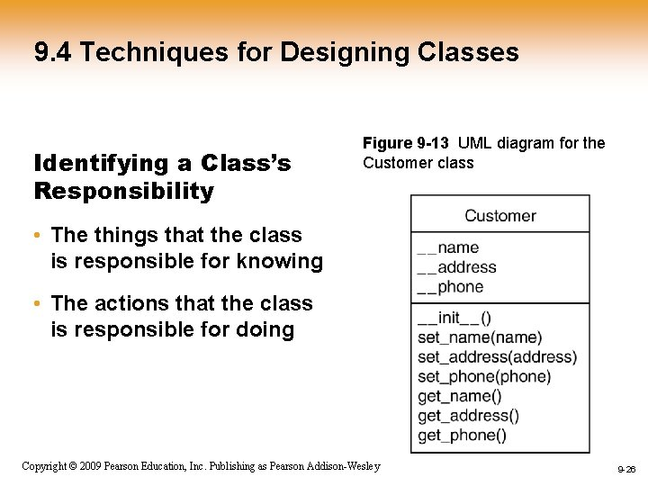 9. 4 Techniques for Designing Classes Identifying a Class's Responsibility Figure 9 -13 UML