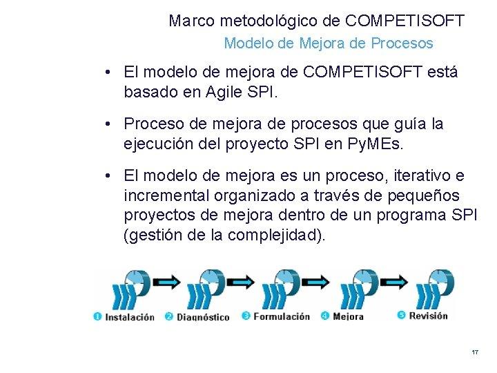 Marco metodológico de COMPETISOFT Modelo de Mejora de Procesos • El modelo de mejora