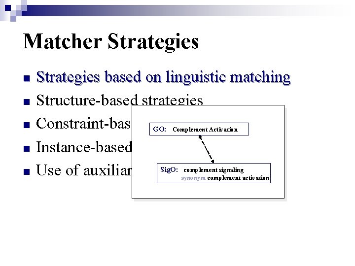 Matcher Strategies n n n Strategies based on linguistic matching Structure-based strategies Constraint-based approaches