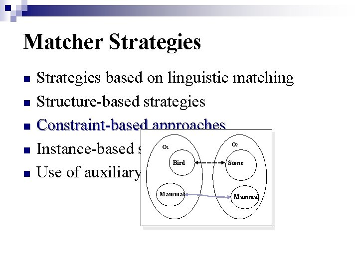 Matcher Strategies n n Strategies based on linguistic matching Structure-based strategies Constraint-based approaches Instance-based
