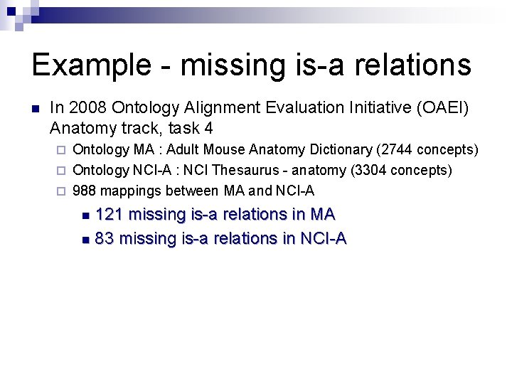 Example - missing is-a relations n In 2008 Ontology Alignment Evaluation Initiative (OAEI) Anatomy