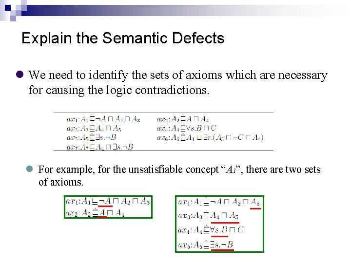 Explain the Semantic Defects We need to identify the sets of axioms which are