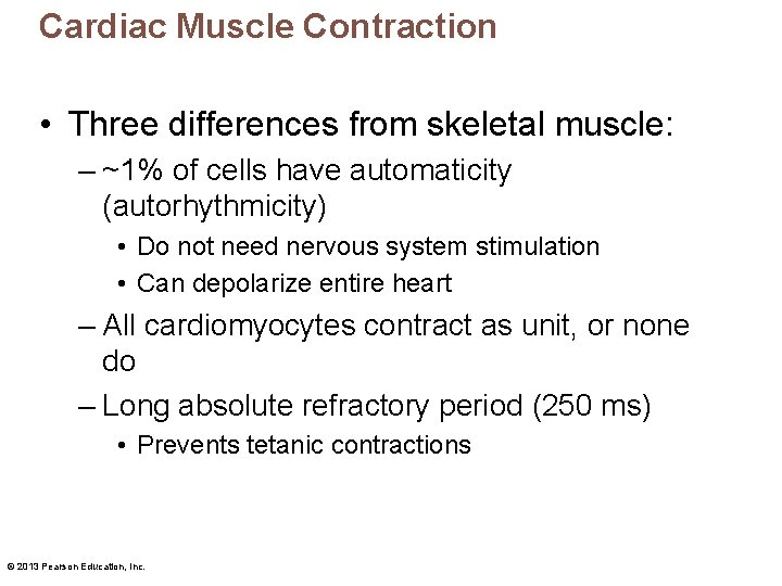 Cardiac Muscle Contraction • Three differences from skeletal muscle: – ~1% of cells have