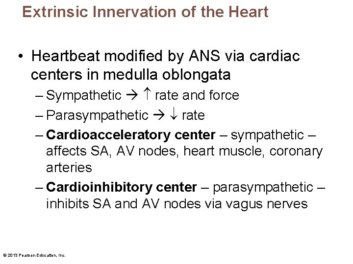 Extrinsic Innervation of the Heart • Heartbeat modified by ANS via cardiac centers in