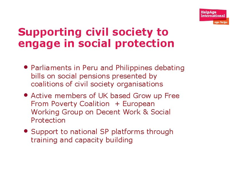 Supporting civil society to engage in social protection • Parliaments in Peru and Philippines