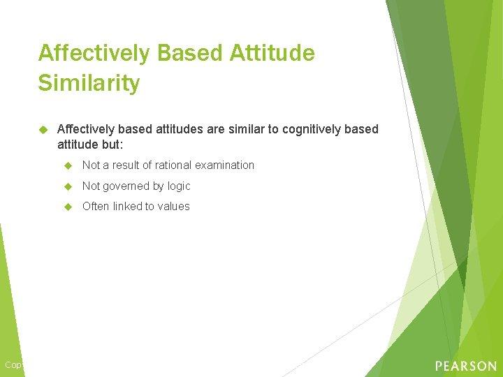 Affectively Based Attitude Similarity Affectively based attitudes are similar to cognitively based attitude but: