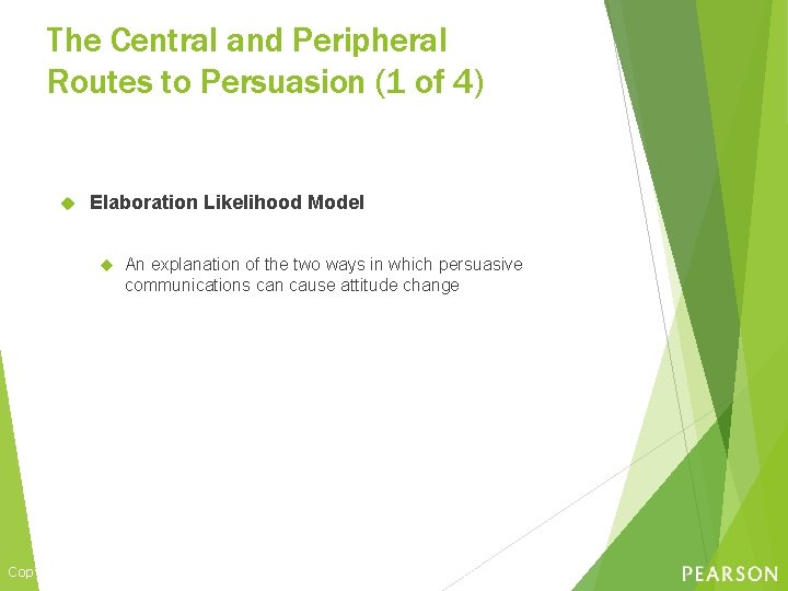 The Central and Peripheral Routes to Persuasion (1 of 4) Elaboration Likelihood Model An