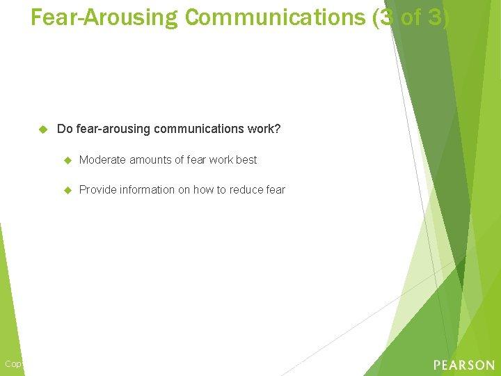 Fear-Arousing Communications (3 of 3) Do fear-arousing communications work? Moderate amounts of fear work