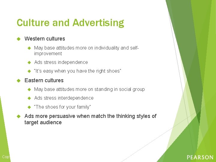 Culture and Advertising Western cultures May base attitudes more on individuality and selfimprovement Ads