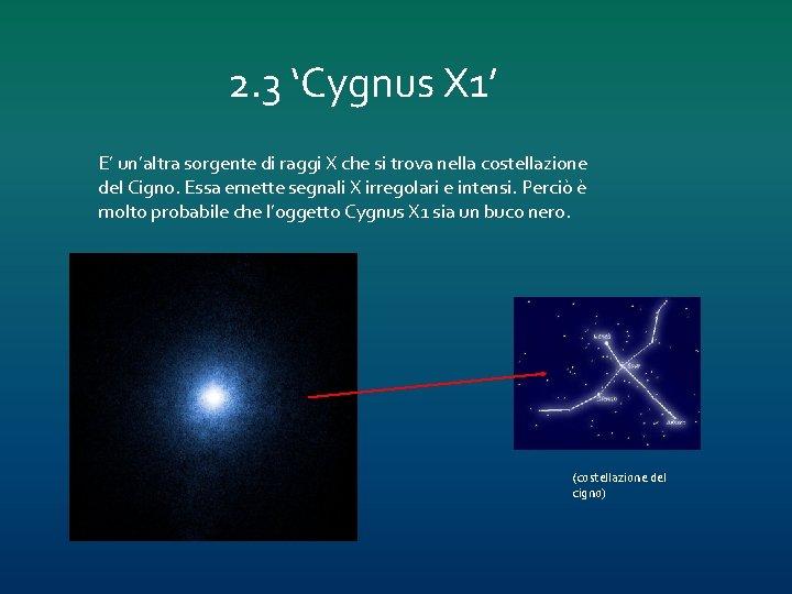 2. 3 'Cygnus X 1' E' un'altra sorgente di raggi X che si trova
