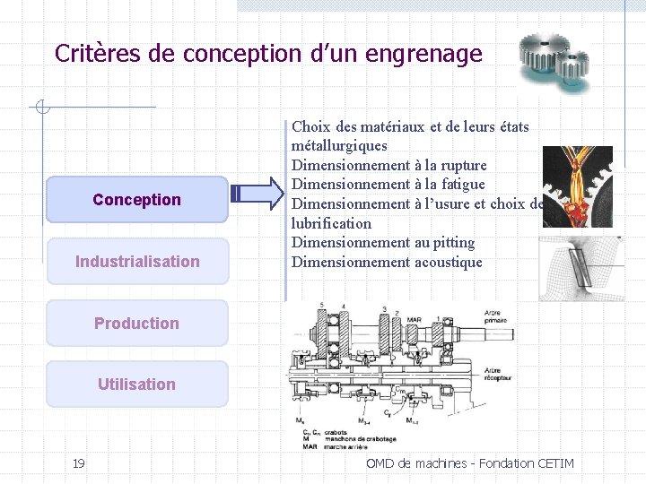 Critères de conception d'un engrenage Conception Industrialisation Choix des matériaux et de leurs états