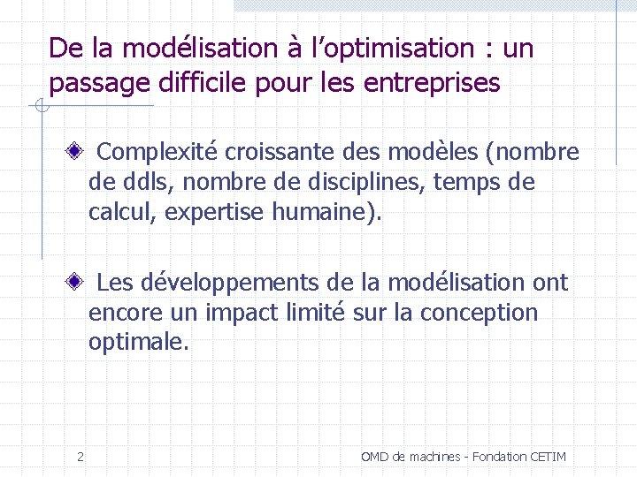 De la modélisation à l'optimisation : un passage difficile pour les entreprises Complexité croissante