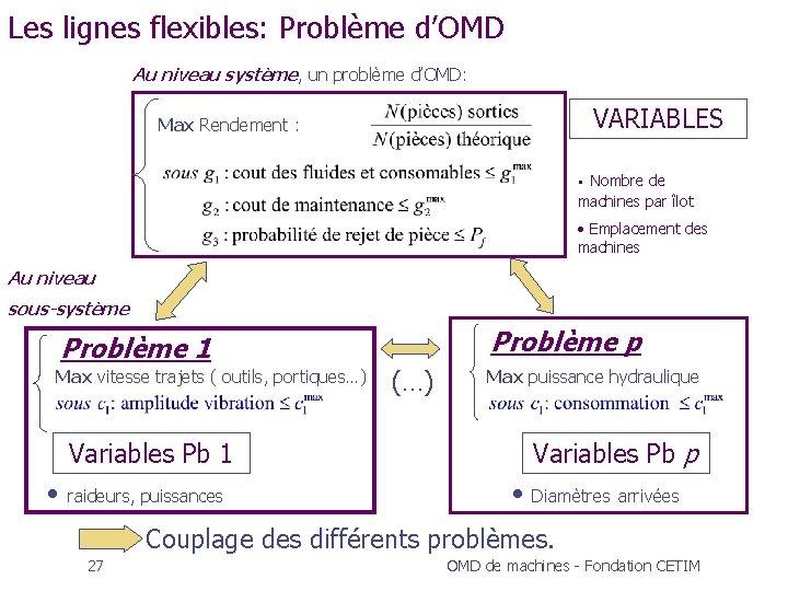 Les lignes flexibles: Problème d'OMD Au niveau système, un problème d'OMD: VARIABLES Max Rendement