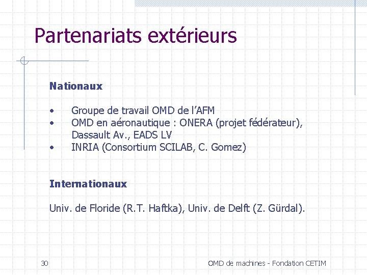 Partenariats extérieurs Nationaux • Groupe de travail OMD de l'AFM • OMD en aéronautique