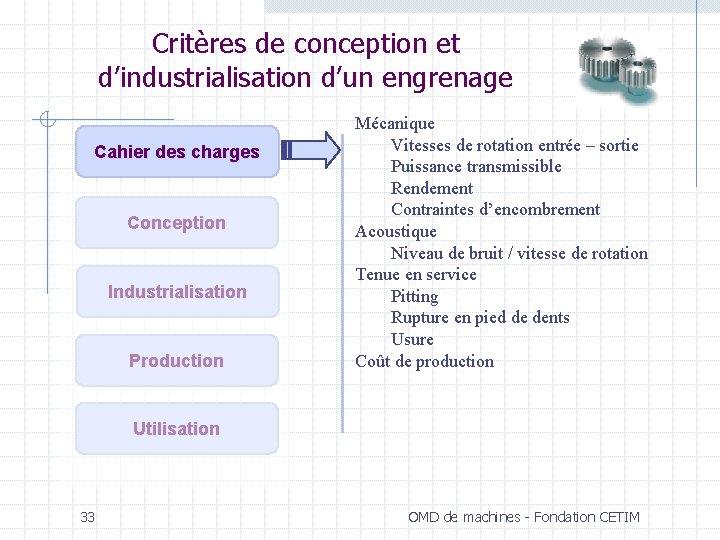 Critères de conception et d'industrialisation d'un engrenage Cahier des charges Conception Industrialisation Production Mécanique