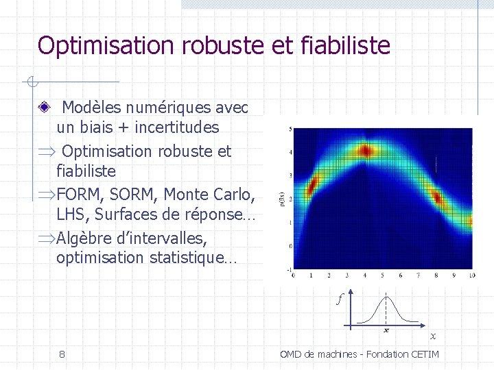 Optimisation robuste et fiabiliste Modèles numériques avec un biais + incertitudes Þ Optimisation robuste