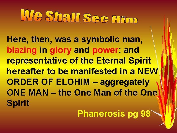 Here, then, was a symbolic man, blazing in glory and power: and representative of