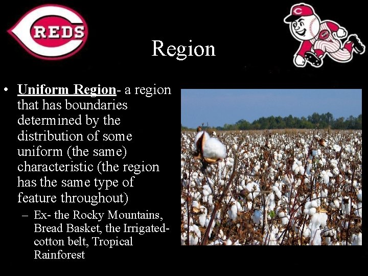 Region • Uniform Region- a region that has boundaries determined by the distribution of