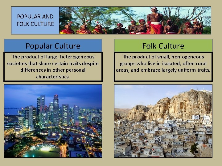 POPULAR AND FOLK CULTURE Popular Culture Folk Culture The product of large, heterogeneous societies