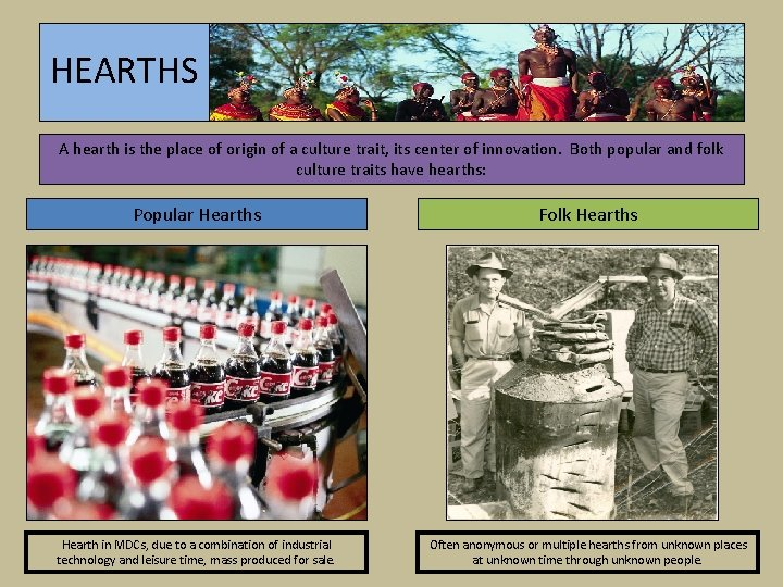 HEARTHS A hearth is the place of origin of a culture trait, its center
