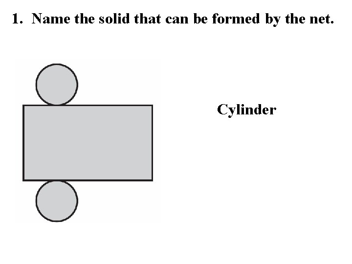 1. Name the solid that can be formed by the net. Cylinder