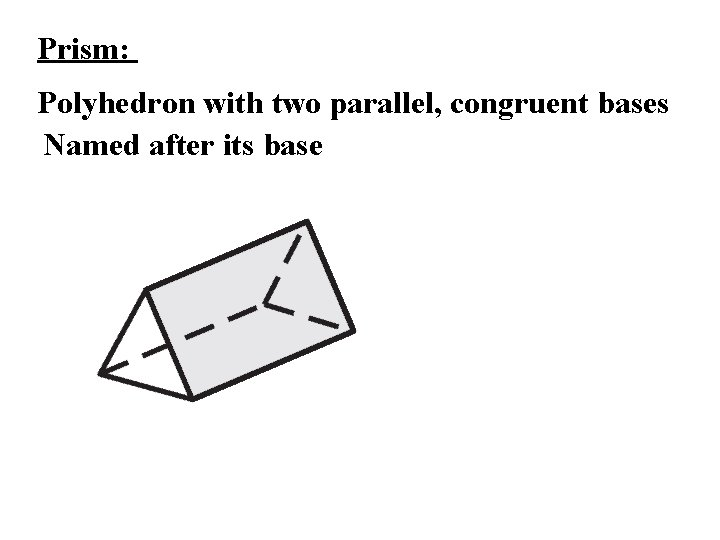 Prism: Polyhedron with two parallel, congruent bases Named after its base