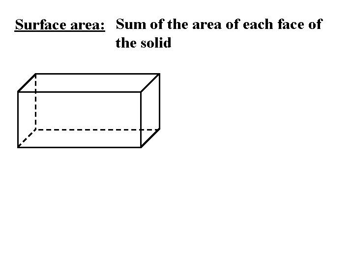 Surface area: Sum of the area of each face of the solid