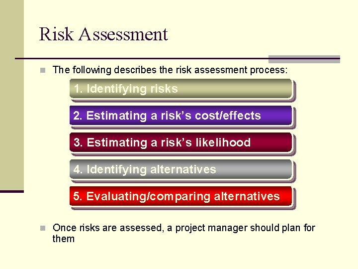 Risk Assessment n The following describes the risk assessment process: 1. Identifying risks 2.