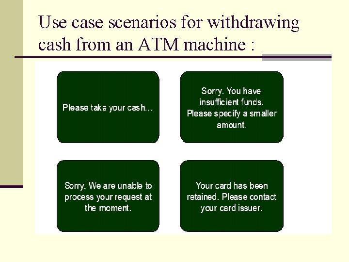 Use case scenarios for withdrawing cash from an ATM machine :