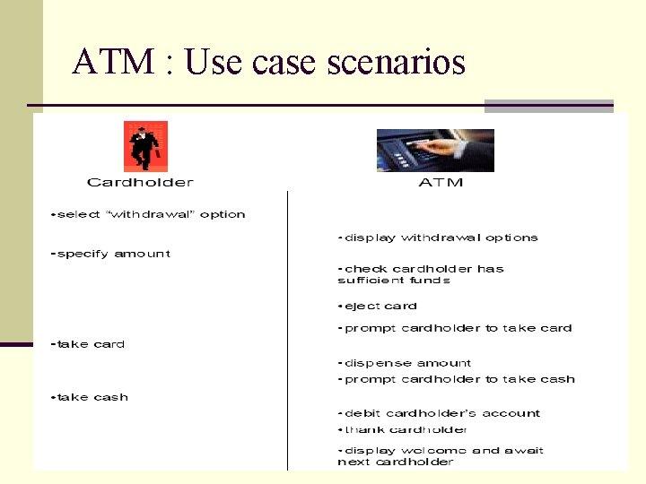 ATM : Use case scenarios