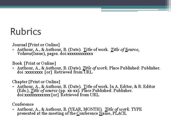 Rubrics Journal [Print or Online] • Authour, A. , & Authour, B. (Date). Title