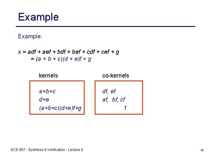 Example: x = adf + aef + bdf + bef + cdf + cef