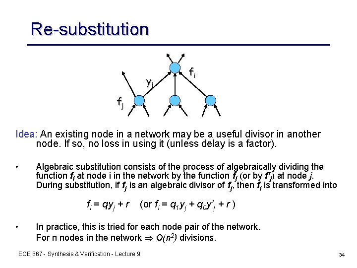 Re-substitution yj fi fj Idea: An existing node in a network may be a