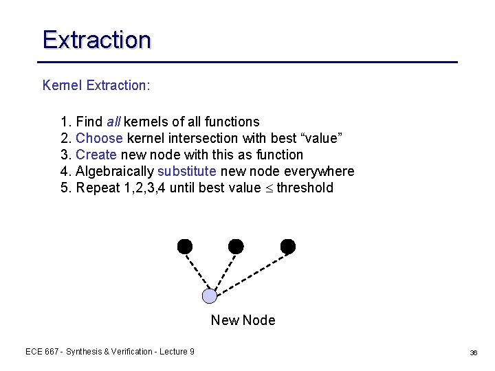 Extraction Kernel Extraction: 1. Find all kernels of all functions 2. Choose kernel intersection