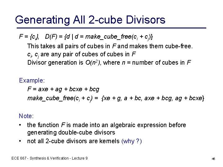 Generating All 2 -cube Divisors F = {ci}, D(F) = {d | d =
