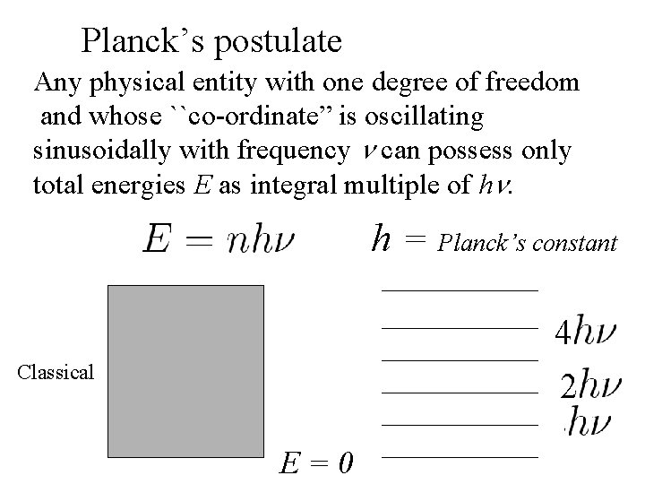 """Planck's postulate Any physical entity with one degree of freedom and whose ``co-ordinate"""" is"""