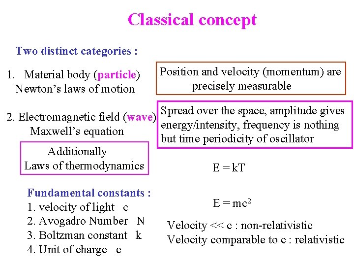 Classical concept Two distinct categories : 1. Material body (particle) Newton's laws of motion