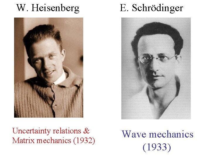 W. Heisenberg Uncertainty relations & Matrix mechanics (1932) E. Schrödinger Wave mechanics (1933)