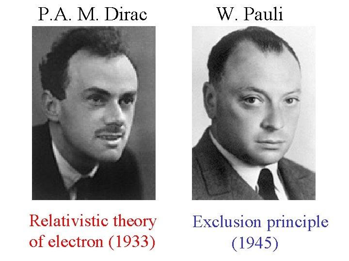 P. A. M. Dirac Relativistic theory of electron (1933) W. Pauli Exclusion principle (1945)