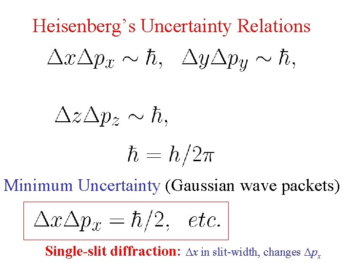 Heisenberg's Uncertainty Relations Minimum Uncertainty (Gaussian wave packets) Single-slit diffraction: x in slit-width, changes