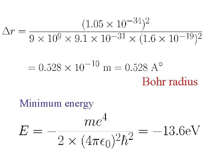 Bohr radius Minimum energy