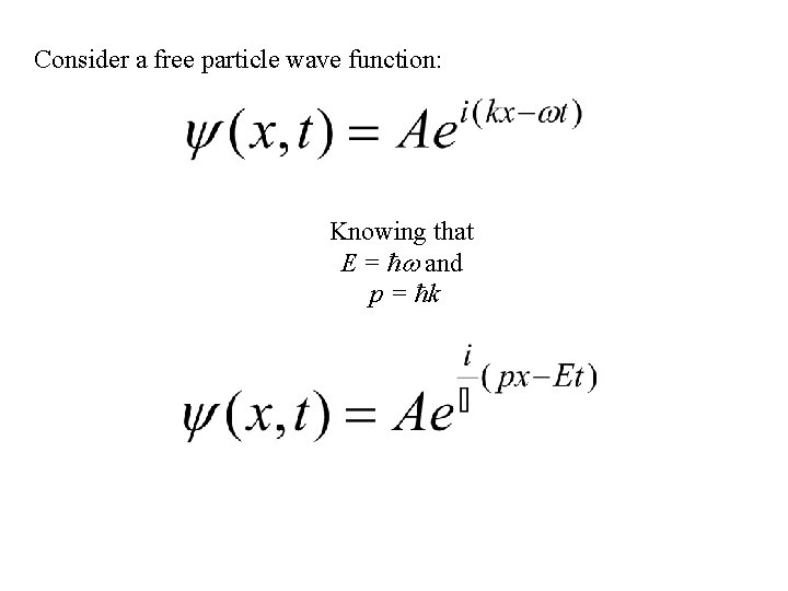 Consider a free particle wave function: Knowing that E = ħ and p =