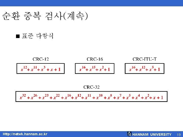 순환 중복 검사(계속) < 표준 다항식 Http: //netwk. hannam. ac. kr HANNAM UNIVERSITY 19
