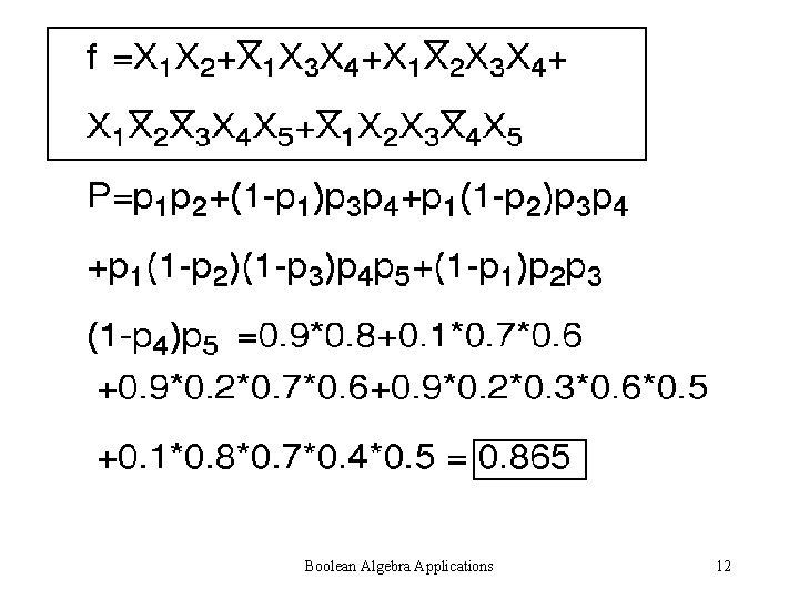 Boolean Algebra Applications 12
