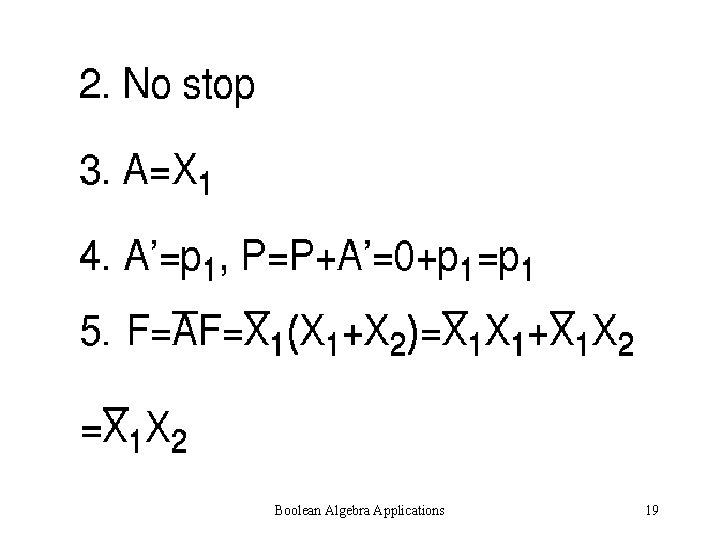 Boolean Algebra Applications 19