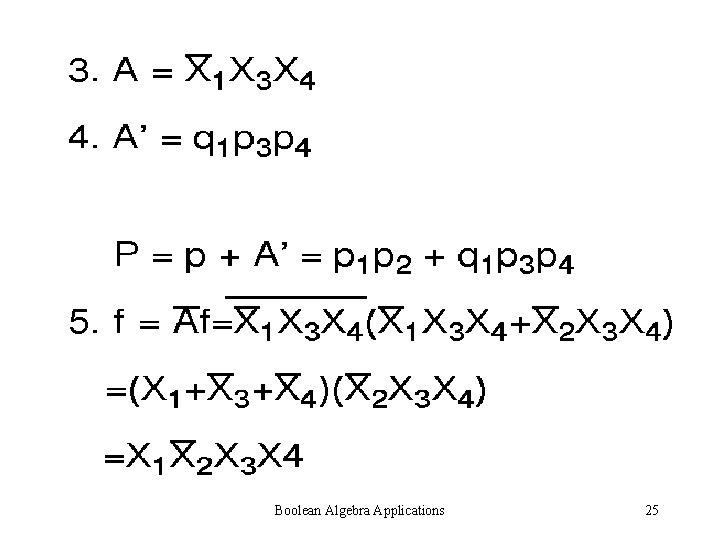 Boolean Algebra Applications 25