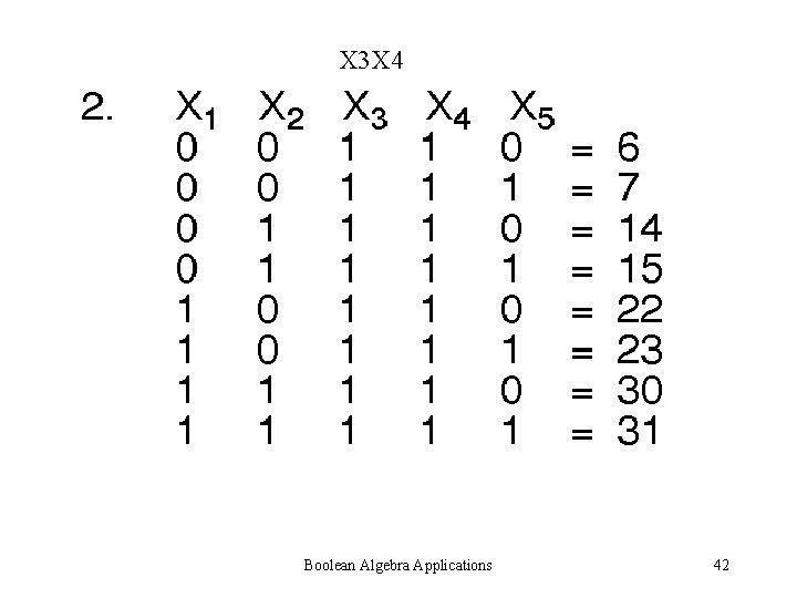 X 3 X 4 Boolean Algebra Applications 42