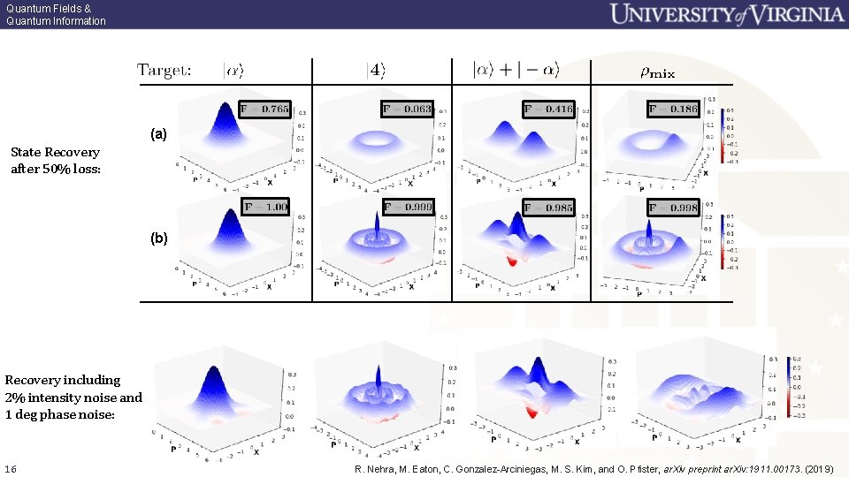 Quantum Fields & Quantum Information (a) State Recovery after 50% loss: (b) Recovery including