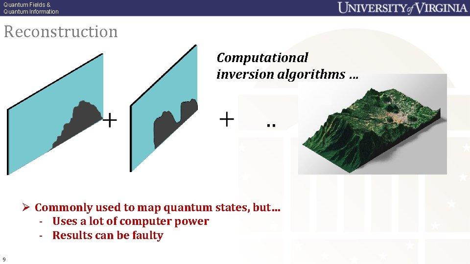 Quantum Fields & Quantum Information Reconstruction Computational inversion algorithms … Ø Commonly used to
